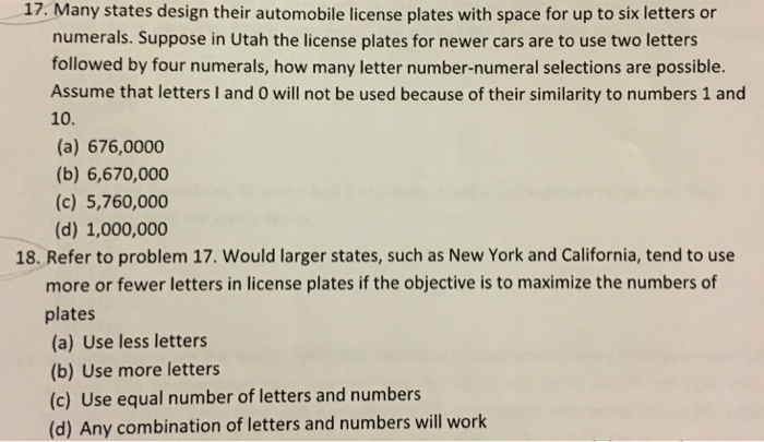 Solved: Many States Design Their Automobile License Plates
