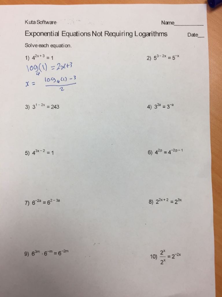 Solved: Kuta Software Exponential Equations Not Requiring