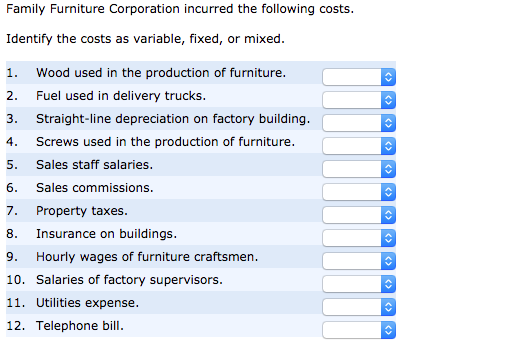 Family Furniture Corporation Incurred The Following Costs. Identify The  Costs As Variable, Fixed,