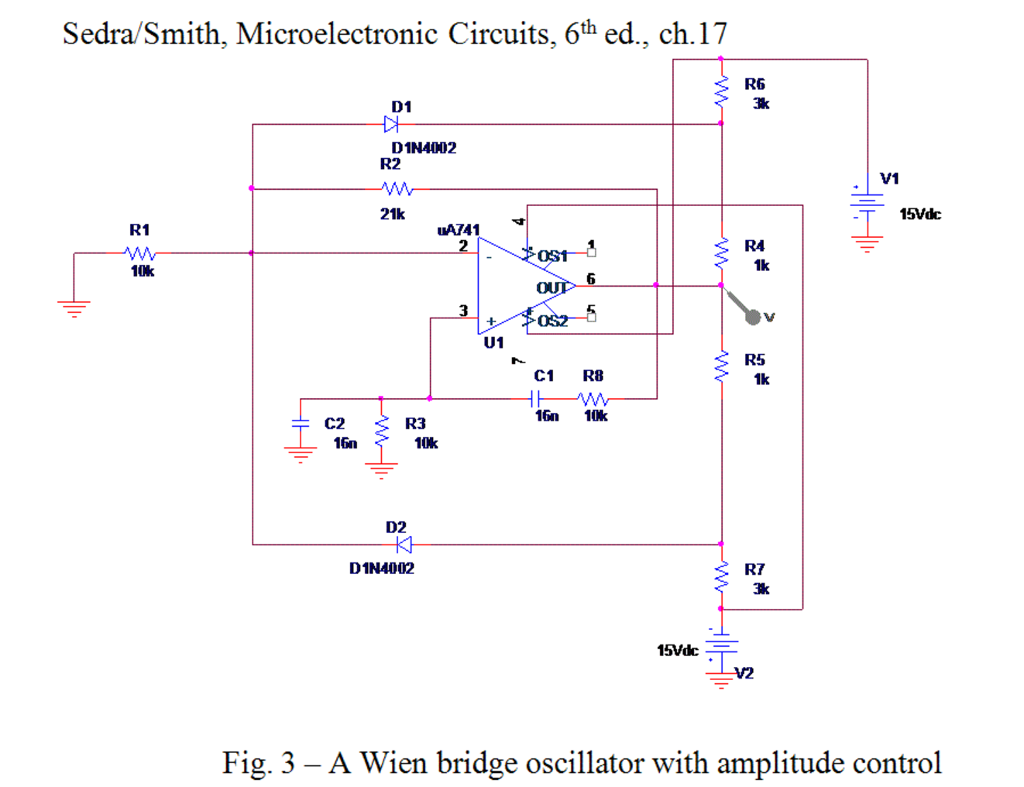 Problem 140 Points Wien Bridge Oscillator Simul The Circuit Above Contains 5 Resistors R1 R2 Cheggcom In Order To Ensure That Oscillation Will Start We Make Slightly Greater Than 2 Fig 3 Is A Using An Op Amp