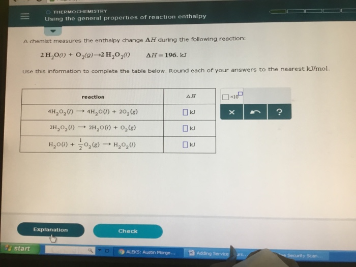 Solved: A Chemist Measures The Enthalpy Change H During Th ...
