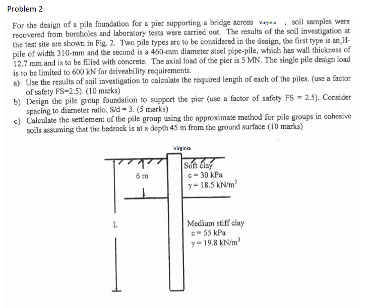 Solved: Problem 2 For The Design Of A Pile Foundation For