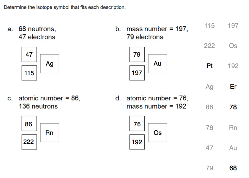 Solved Determine The Isotope Symbol That Fits Each Descri