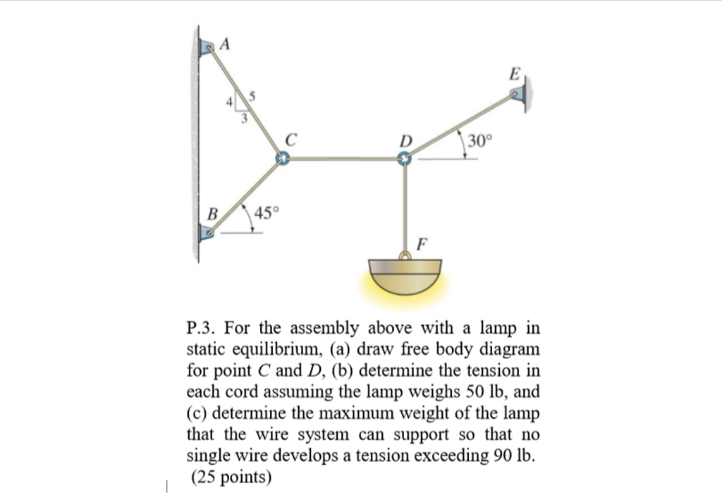 Solved P3 For The Assembly Above With A Lamp In Static