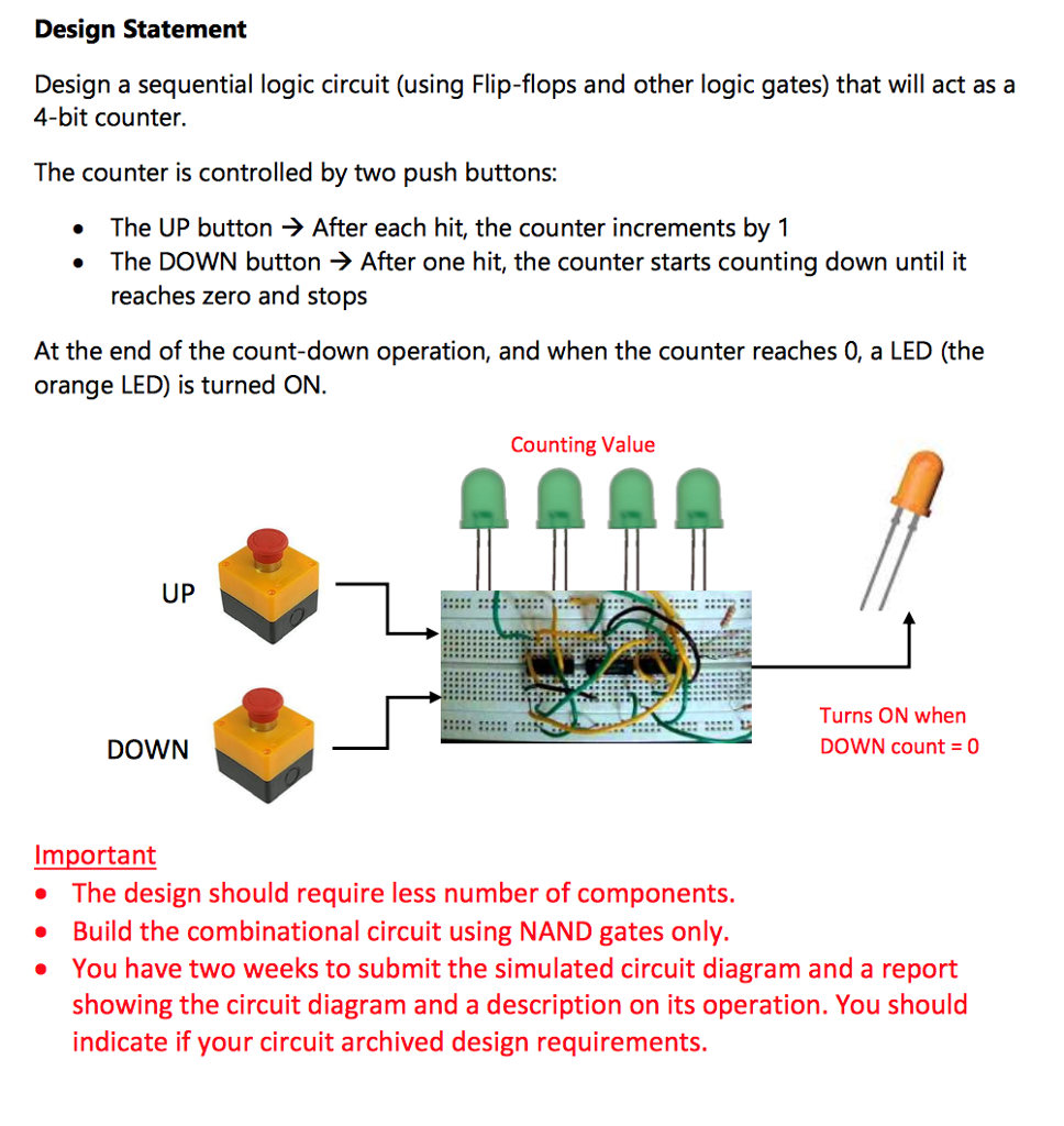 Design Statement A Sequential Logic Circuit Diagram Using Nand Gates Only Flip Flops And Other