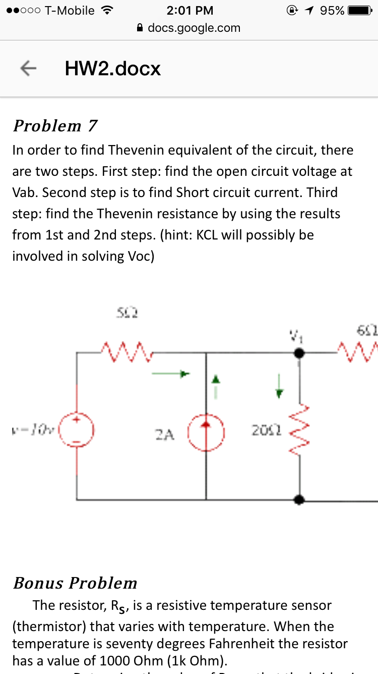 Solved 201 Pm Ooo T Mobile Docsgooglecom Ocx Problem 7 Find The Equivalent Resistance Re Of Circuit S Cheggcom