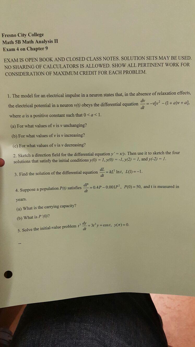 Solved: Fresno City College Math 5B Math Analysis II Exam ...