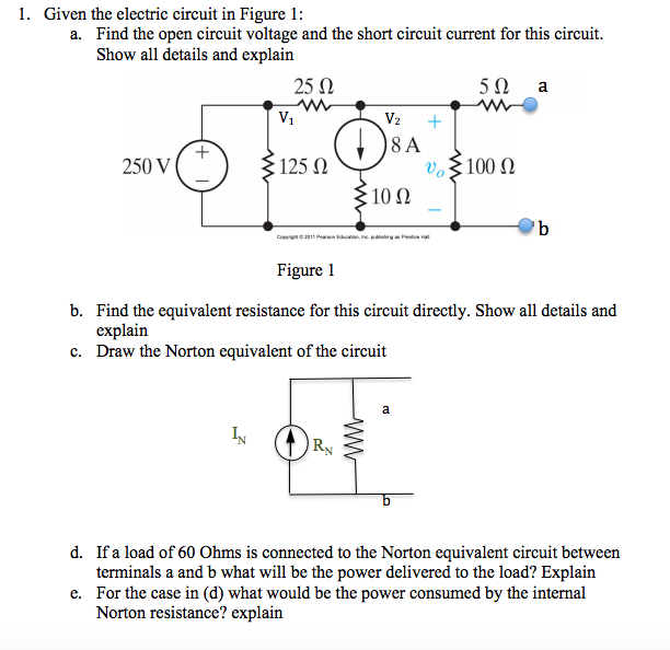 solved 1 given the electric circuit in figure 1 a find rh chegg com