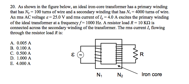 Solved: As Shown In The Figure Below, An Ideal Iron-core T