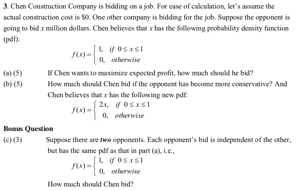 solved 3 chen construction company is bidding on a job