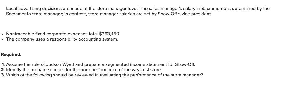 Solved: Show-Off, Inc  Sells Merchandise Through Three Ret