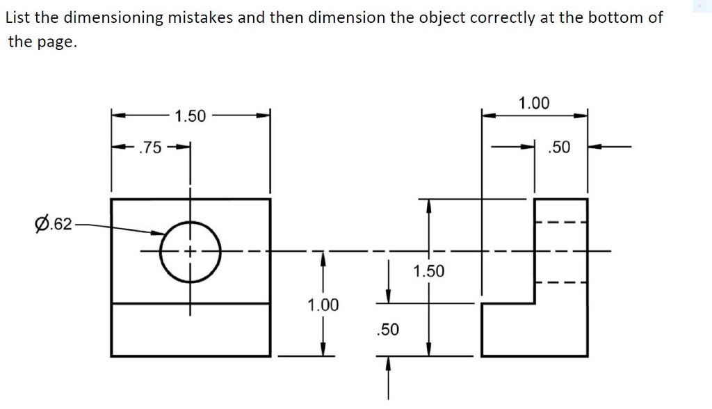 solved list the dimensioning mistakes and then dimension