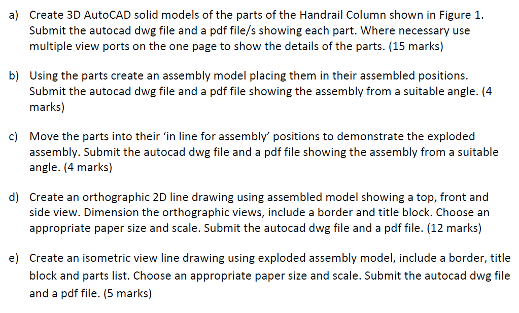 Create 3D AutoCAD Solid Models Of The Parts Of The