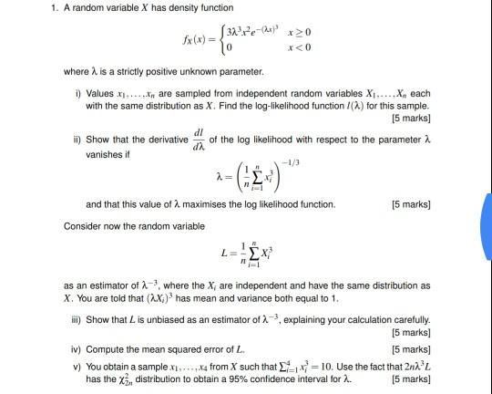 Solved: 1  A Random Variable X Has Density Function Fx (x