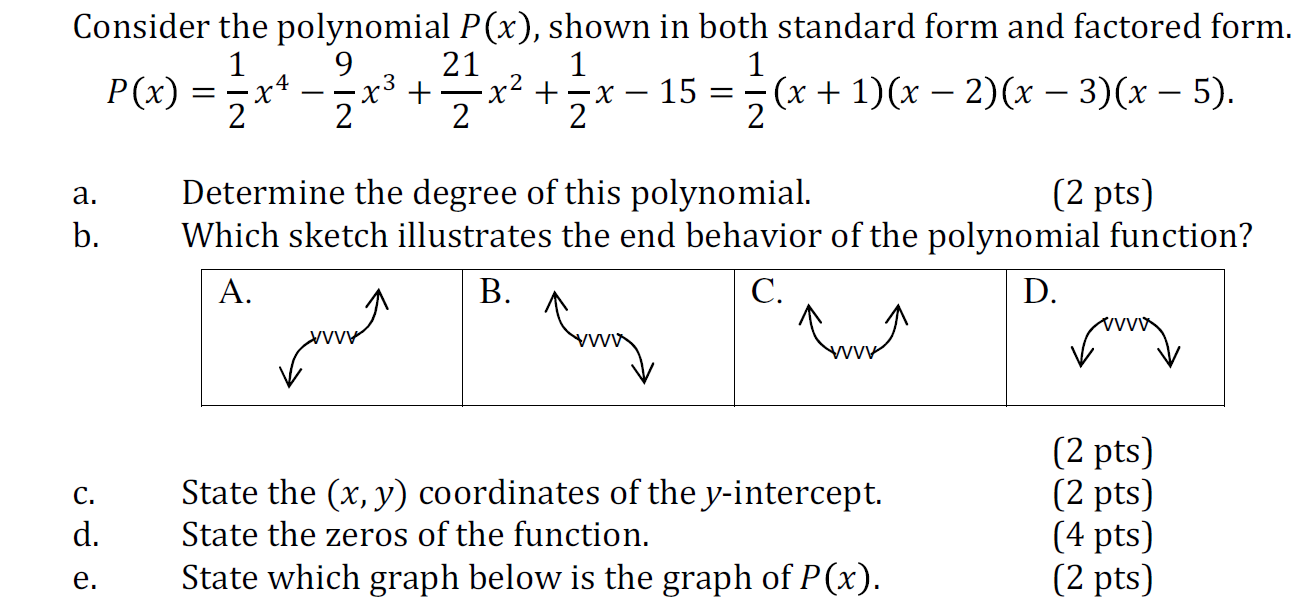 Solved Consider The Polynomial Px Shown In Both Standa