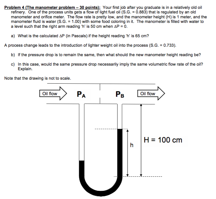 problem 4 (the manometer problem-30 points): your first job after you