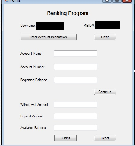 solved create a banking account register in visual c as