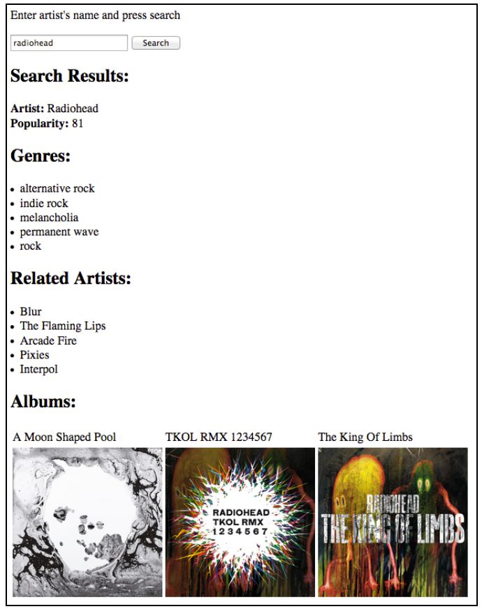 Solved: Write An Online Music Search Engine Using Spotify