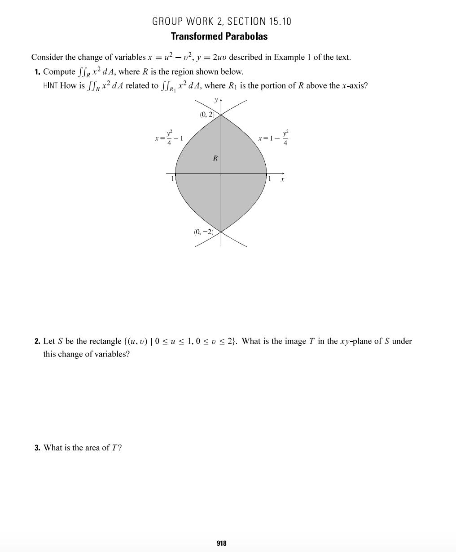 Solved Consider The Change Of Variables X U2 V2 Y