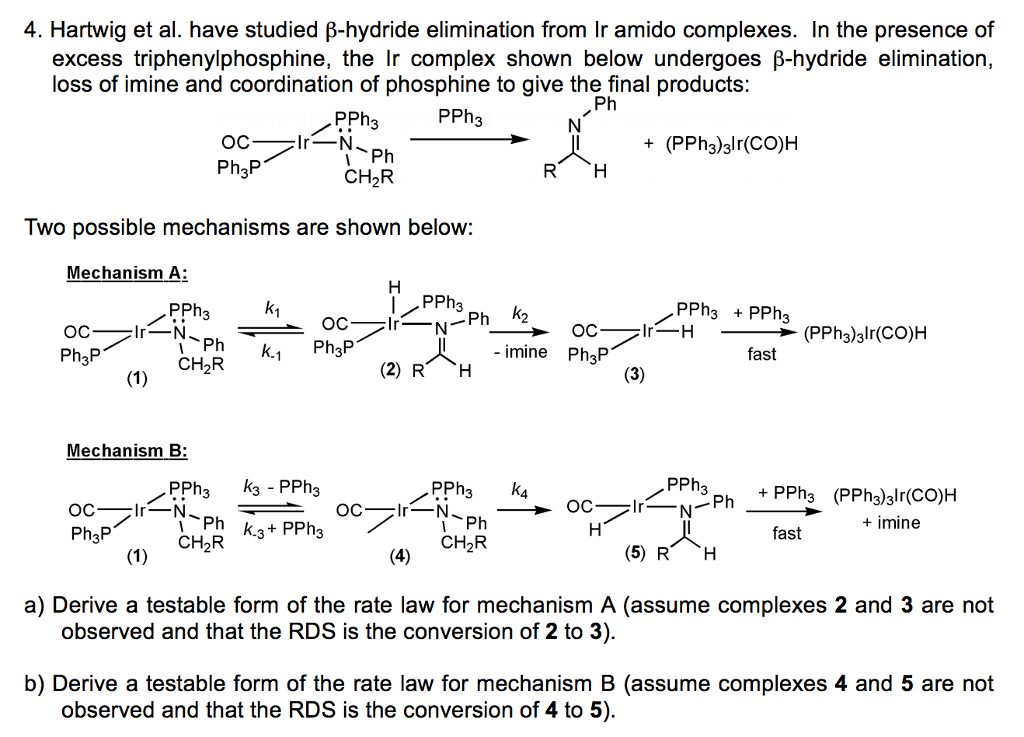 inorganic chemistry help i am studying for the fi com 4 hartwig et al have studied b hydride eliminati