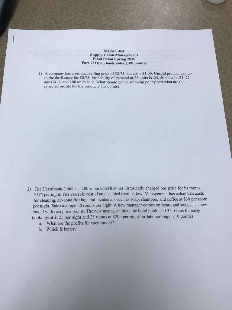 supply chain management midterm exam questions
