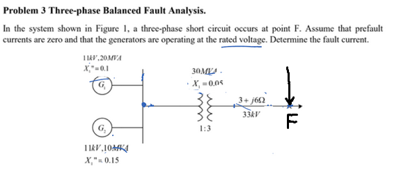 Solved problem 3 three phase balanced fault analysis in problem 3 three phase balanced fault analysis in the system shown in figure ccuart Image collections