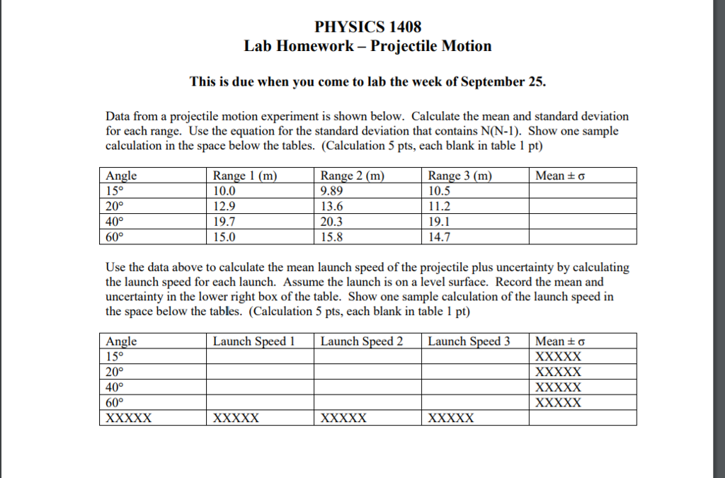 Solved: PHYSICS 1408 Lab Homework - Projectile Motion This