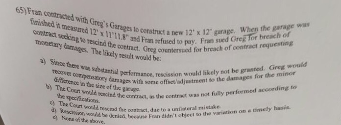 Solved: Fran Contracted With Greg's To Construct A New 12