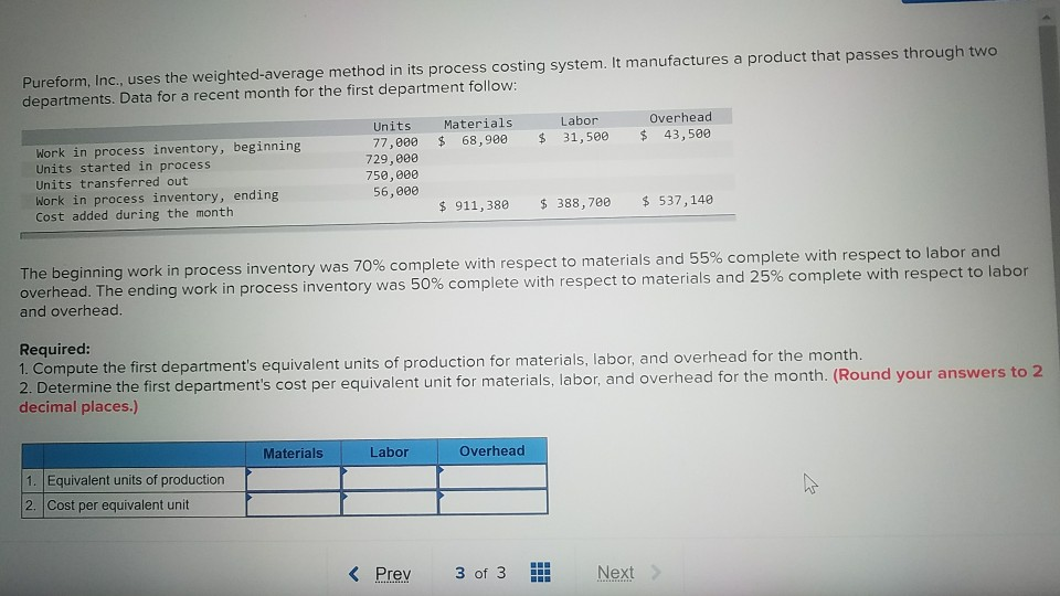 Accounting archive march 03 2018 chegg pureform inc uses the weighted average method in its process costing system fandeluxe Choice Image