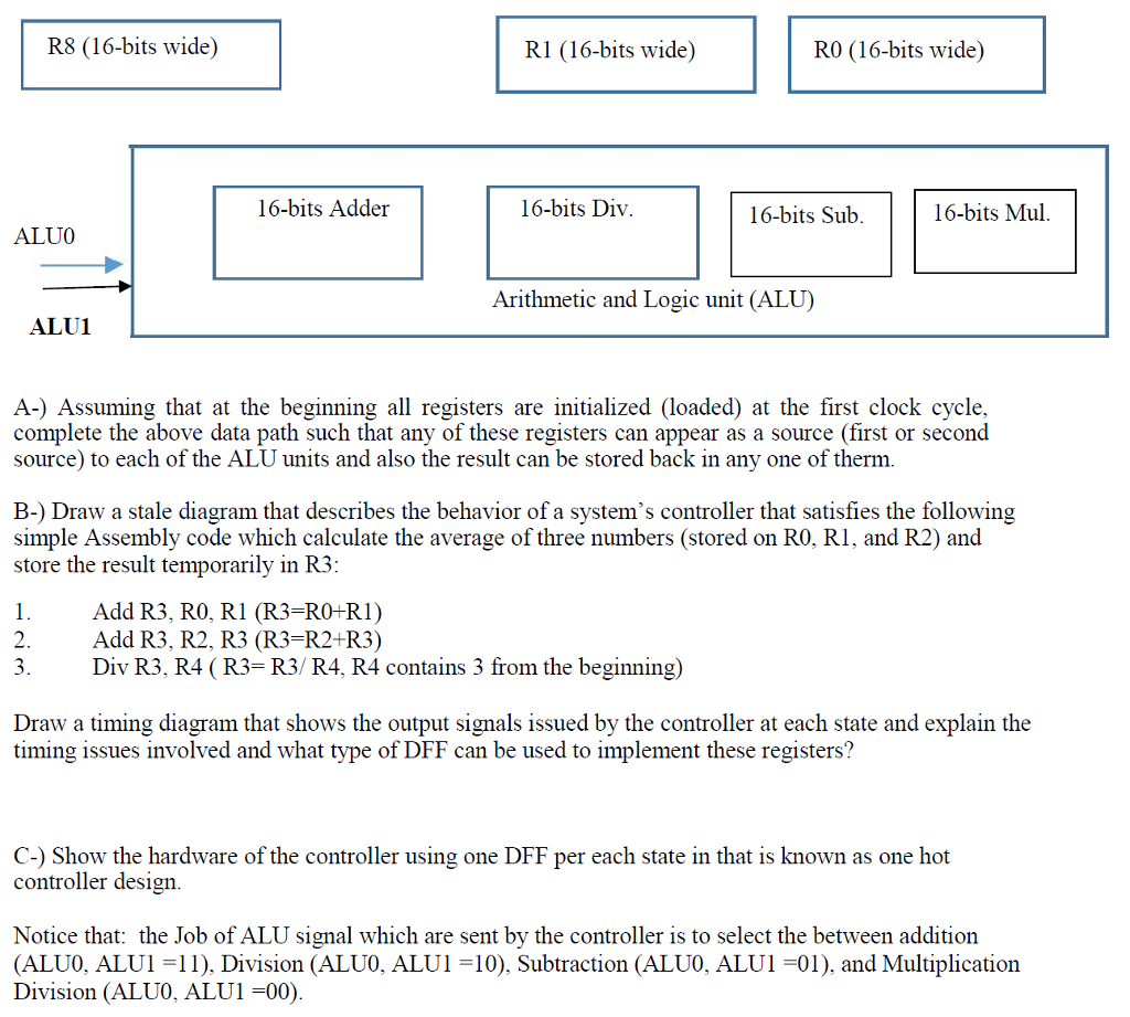Solved Consider The Following Diagram That Represents A S Back Of Computer Question Small Data Path 16 Bit System