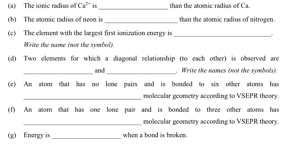 Solved A The Ionic Radius Of Ca2 Is B The Atomic Radi