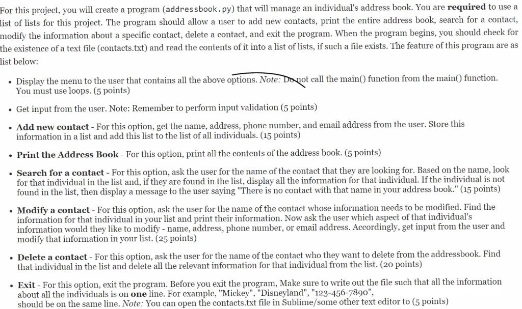 solved python creating a very simple address book chegg com