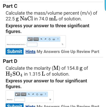 Solved: Calculate The Mass/volume Percent (m/v) Of 22 5 G