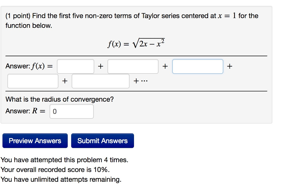 Advanced math archive november 28 2017 chegg 1 point find the first five non zero terms of taylor series centered fandeluxe Gallery