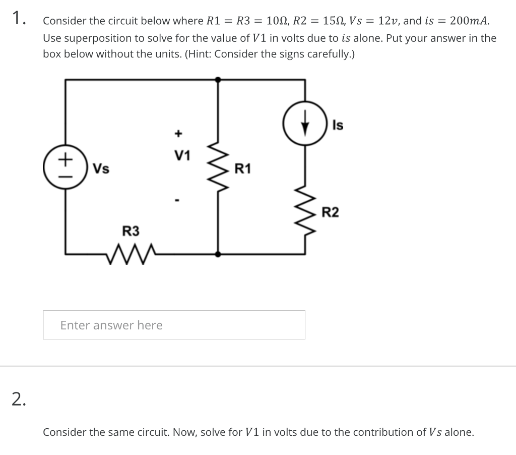 Solved: Consider The Circuit Below Where R1 R3 10Ω, R2 15Ω ...