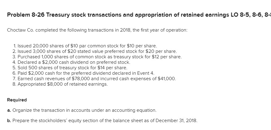 Solved: Problem 8-26 Treasury Stock Transactions And Appro