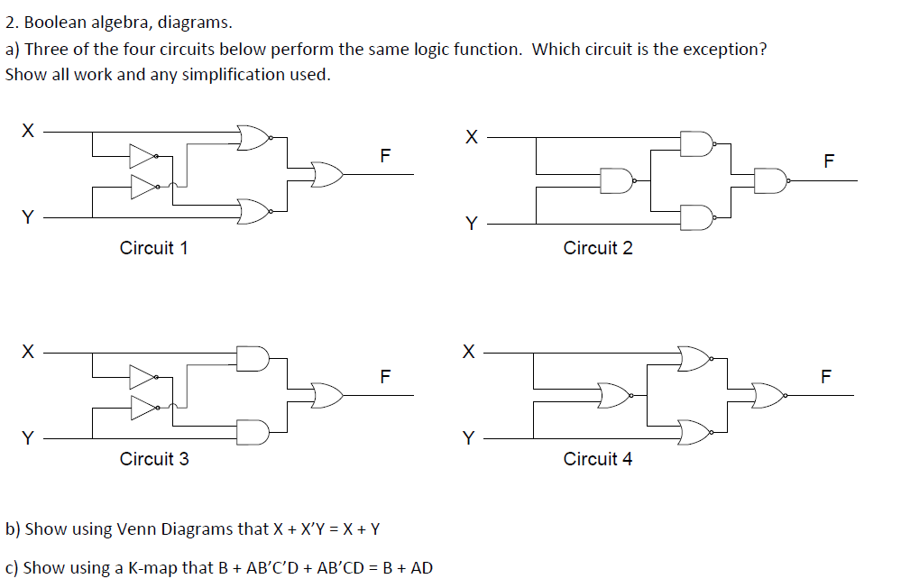 solved boolean algebra diagrams three of the four circu rh chegg com