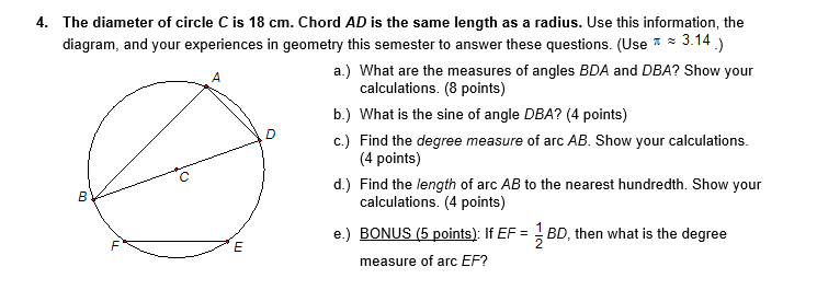 Solved: The Diameter Of Circle C Is 18 Cm. Chord AD Is The ...
