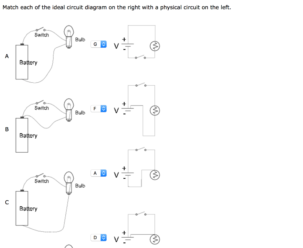 Solved Match Each Of The Ideal Circuit Diagram On Rig With Labels Right A Physical