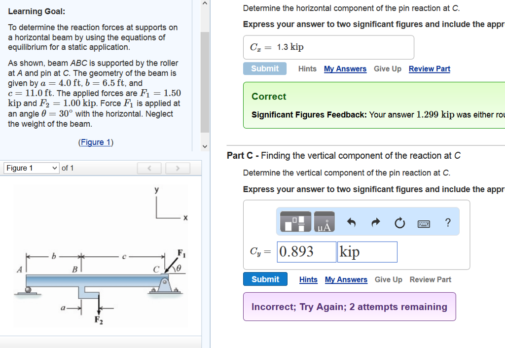 Solved: To Determine The Reaction Forces At Supports On A