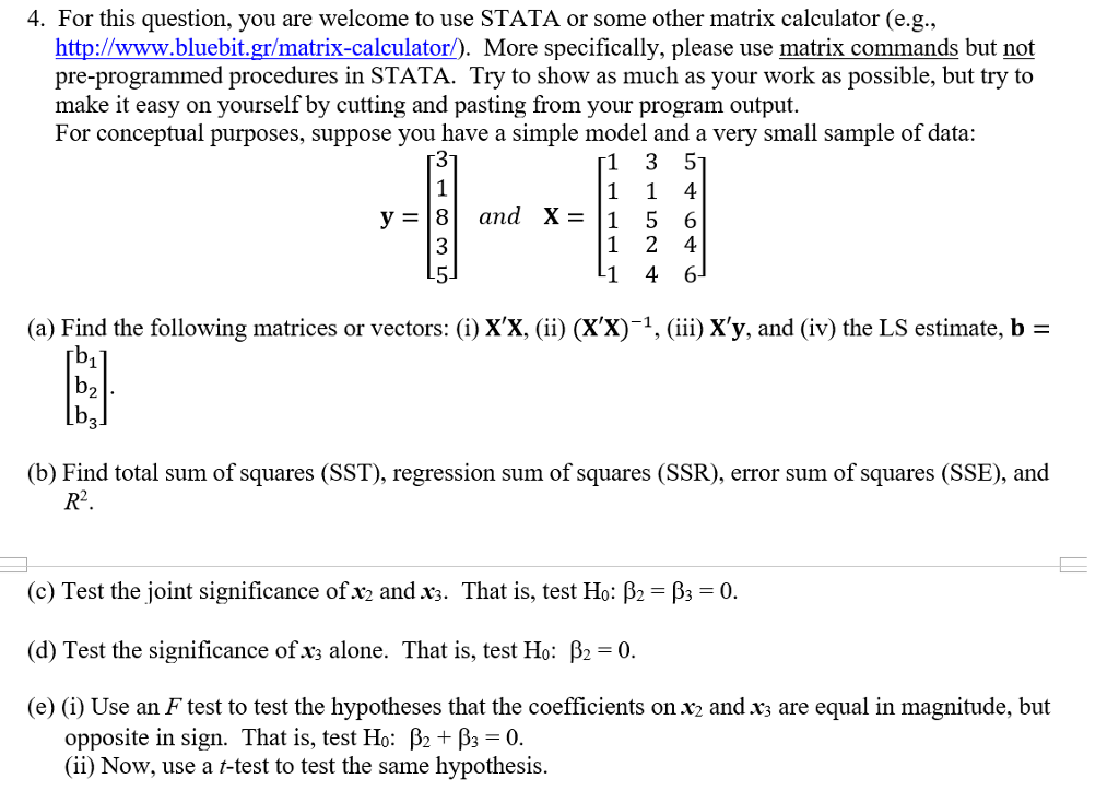 Solved: 4  For This Question, You Are Welcome To Use STATA