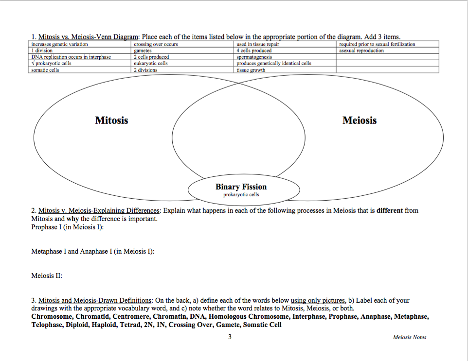 Solved Mitosis Vs Meiosis Venn Diagram Place Each Of The
