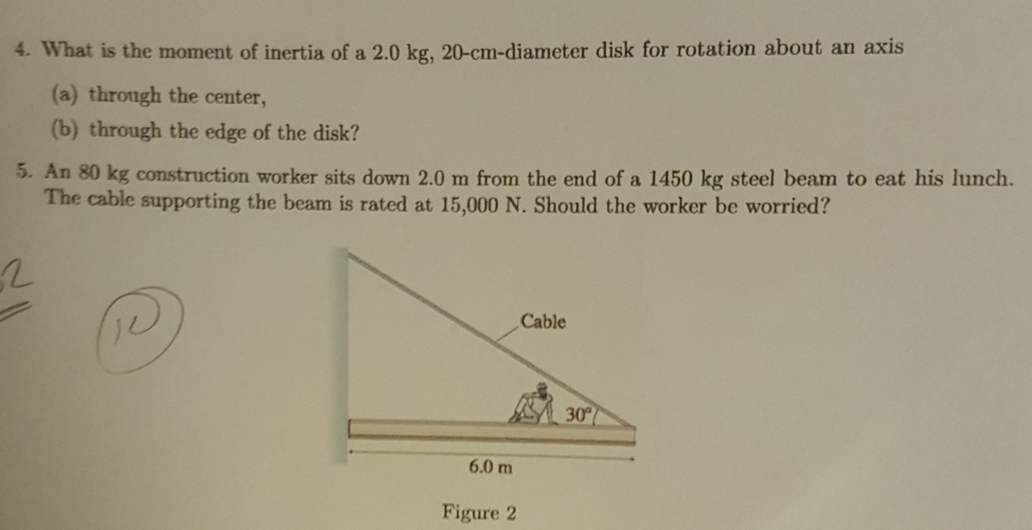 Solved What Is The Moment Of Inertia Of A 2 0 Kg 20 Cm D
