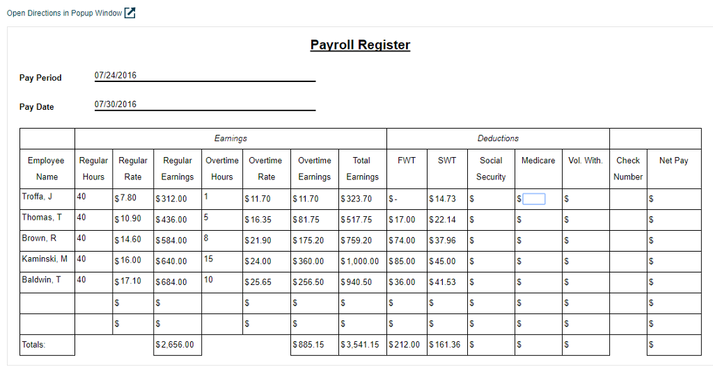 psb 4 6 populate a payroll register complete the r chegg com