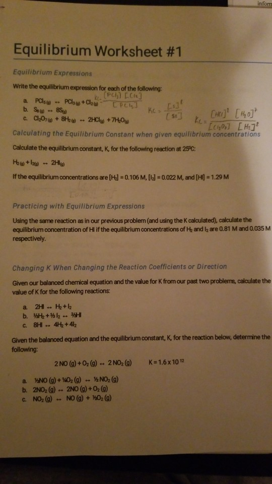 Solved: Equilibrium Worksheet #1 Equilibrium Expressions W ...