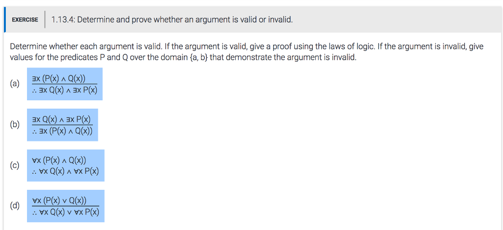 valid and invalid arguments exercises