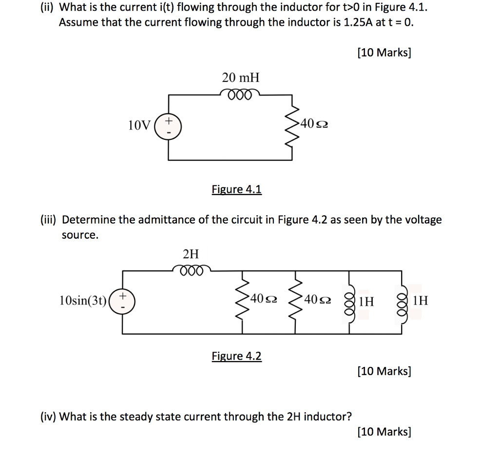 Solved Ii What Is The Current It Flowing Through Inductor Circuit L1 To Be For