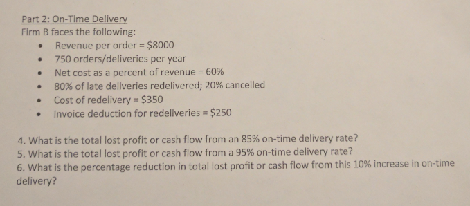 solved firm b faces the following revenue per order 8