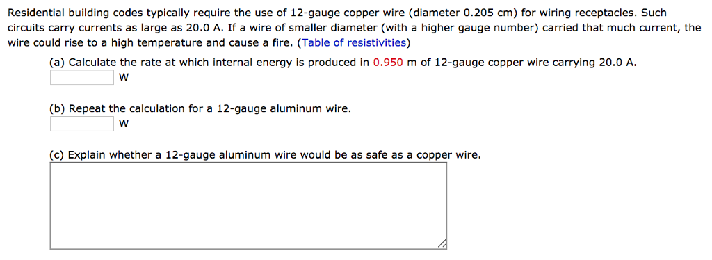 12 ga copper wire diameter wire center solved residential building codes typically require the u rh chegg com 12 gauge copper wire diameter greentooth Gallery