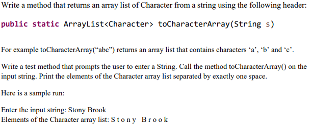 Solved Write A Method That Returns An Array List Of Chara